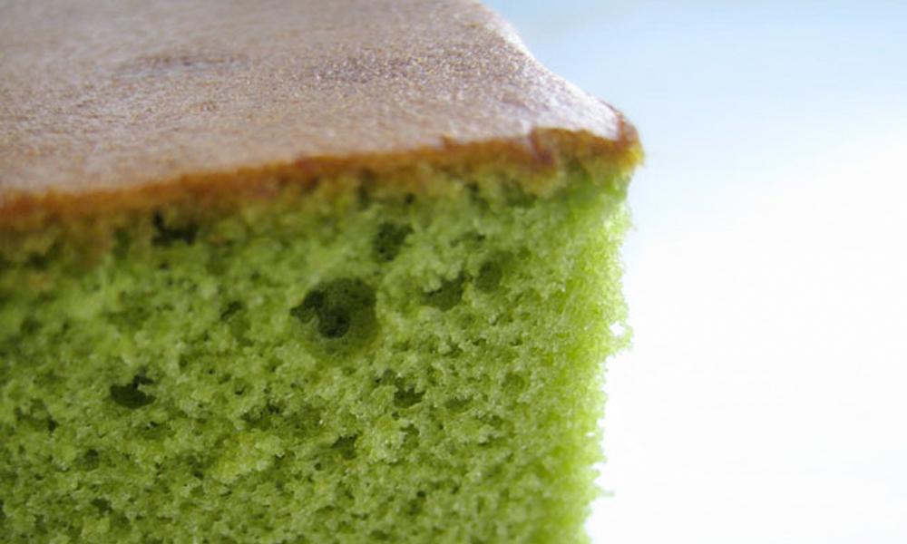 Bizcocho kasutera de té verde