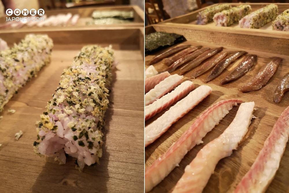 Sushi divertido de anguila y anchoas