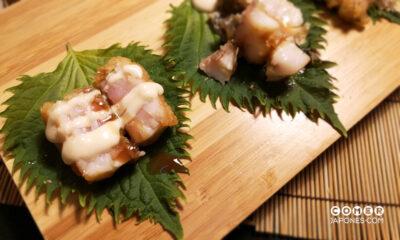 Tempura de corvina salvaje, shiso y mayonesa Kewpie casera