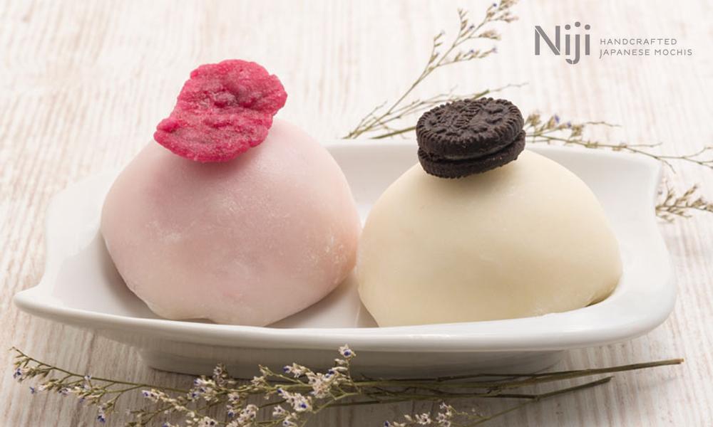 Mochis de lychee-rosa y de galleta Oreo