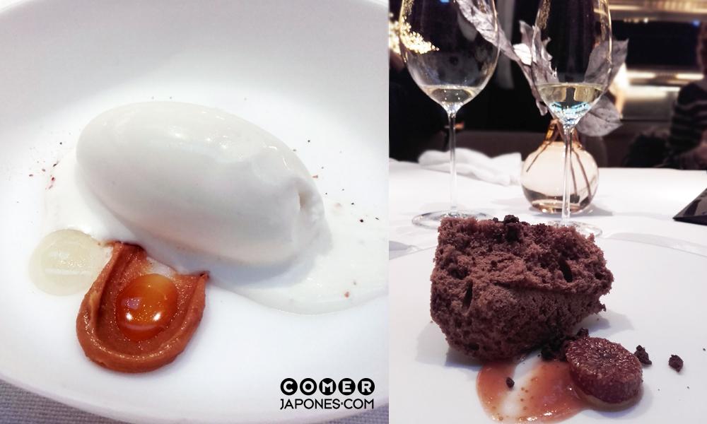Postres: helado de hoja de higuera (izda.) y nube helada de chocolate e higos (dcha.).