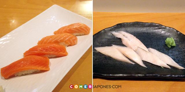 Nigiris de salmón noruego y sashimi de hamachi